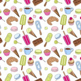 Sweets repeating pattern. Multicolored doodle goodies Stock Photos