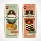 Sweets retro banners vertical. Decorative sweets vertical retro tearoom banners collection with crepes and sponge cake isolated vector illustration Stock Images