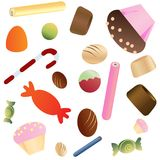 Sweets scatter pattern background. Sweets scatter pattern on white background Royalty Free Stock Photo