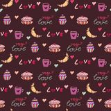Sweets seamless pattern. Bakery wrapping paper with croissants and sweet cupcakes . Textile print, birthday decor and baby pattern stock illustration