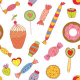 Sweets seamless pattern with candies and cookies. Graphic illustration Stock Photos