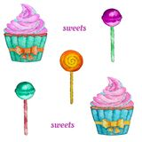 Sweets seamless pattern with cupcake, lollipop and chupa chups vector illustration