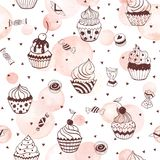 Sweets seamless pattern. Cupcakes seamless pattern with watercolor hearts on white background. Sweets background design. Hand drawn doodle illustration with Stock Photos