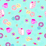 Sweets Seamless Repeat Pattern Vector. Background Illustration Royalty Free Stock Images