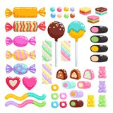 Sweets set. Assorted candies. stock illustration
