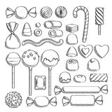Sweets set. Assorted candies - sketch style. stock illustration