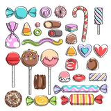Sweets set. Assorted candies - sketch style. vector illustration