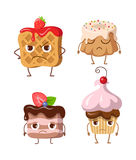 Sweets. Set of Belgian Waffle and Three Cupcakes Stock Image