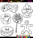 Sweets set cartoon coloring book Royalty Free Stock Images