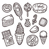 Sweets set. First part of vector hand drawn doodle sweets collection Royalty Free Stock Photo