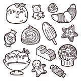 Sweets set. Second part of vector hand drawn doodle sweets collection Stock Images