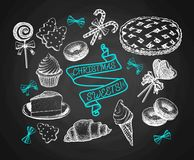 Sweets Set Sketch On Chalkboard Background. Holiday Cakes, Pies, Biscuits, Ice Cream And Cookies Vintage Vector. Sweets Set Sketch On Black Chalkboard Background Royalty Free Stock Photo