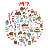Sweets set vector icons hand drawn doodle Royalty Free Stock Photo