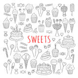 Sweets set vector icons hand drawn doodle Royalty Free Stock Images