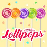 Lollipop boutique logo. Sweets shop emblem. Lollipop boutique poster. Sweets shop illustration. Lollipop with letters and hearts on the light background Royalty Free Stock Images