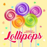 Lollipop boutique logo. Sweets shop emblem. Lollipop boutique poster. Sweets shop illustration. Lollipop with letters and hearts on the light background Stock Photo