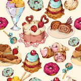 Sweets sketch colored seamless pattern Stock Photos