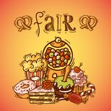 Sweets sketch fair background Royalty Free Stock Images