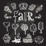 Sweets sketch icon set chalkboard Stock Images