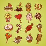 Sweets sketch icon set color Stock Images