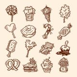 Sweets sketch icon set. Sweets sketch icons set with candies chocolate ice cream isolated vector illustration Stock Images