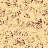 Sweets sketch seamless pattern Stock Images