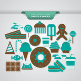 Sweets and Snacks. A complete set of sweets and snacks icons in turquoise and brown colors Royalty Free Stock Image