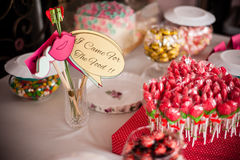Sweets and Snacks. Some sweets and snacks on table in wedding reception party Royalty Free Stock Photos