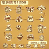 Sweets stickers Stock Photos