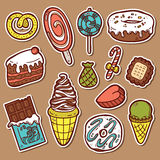 Sweets stickers set. First part of vector doodle collection of hand drawn sweets icons Stock Photography