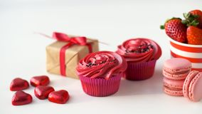 Sweets and strawberries in st valentines day stock video footage