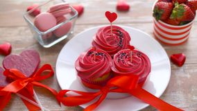 Sweets and strawberries in st valentines day stock video