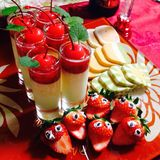 Sweets and strawberries. A tired mom homemade sweets last Stock Photos