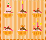 Sweets on striped background Stock Photo