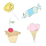 Sweets. stylized drawings Stock Images