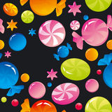 Sweets and sugar candies. Seamless background with bright multi-coloured sweets and sugar candies Royalty Free Stock Images