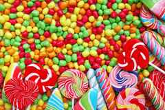Sweets and sugar candies colorful, handmade swirl lollipop Stock Photography