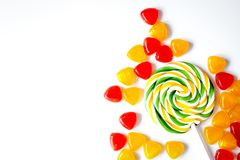 Sweets and sugar candies on white background top view.  royalty free stock images