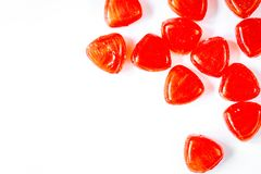 Sweets and sugar candies on white background top view.  stock photography