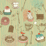 Sweets and tea background. A background design of sweets and tea and coffee Stock Image