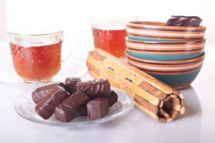 Sweets to tea and tea Stock Images
