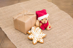 Sweets and toys to children for Christmas Stock Photography