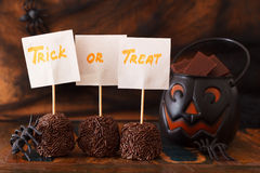 Sweets trick or treat for Halloween spiders, spider we Stock Images