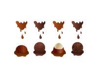 sweets truflowi czekolady odizolowanych ilustracja wektor