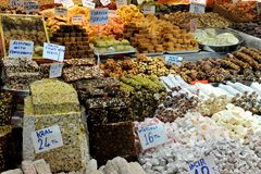 Sweets on a turkish basar Royalty Free Stock Photos
