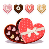 Sweets for Valentine s Day in heart shaped Royalty Free Stock Photo