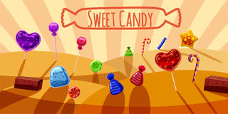 Sweets valley banner horizontal, cartoon style. Sweets valley banner horizontal concept. Cartoon illustration of sweets valley banner horizontal vector for web Stock Photography