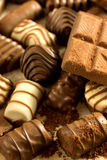 Sweets. Various chocolate sweets and pralines Stock Photos