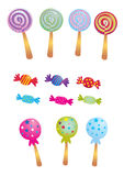 Sweets. Various colorful sweets and lollipops Stock Photos