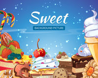 Sweets vector abstract background with candy Royalty Free Stock Photo
